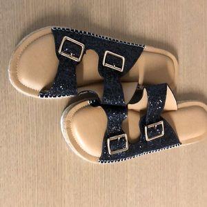 Women's Black Embellished Slide Sandal